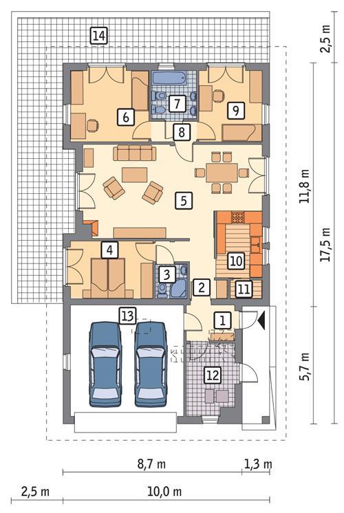 Rzut parteru POW. 135,6 m²