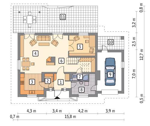Rzut parteru POW. 106,6 m²