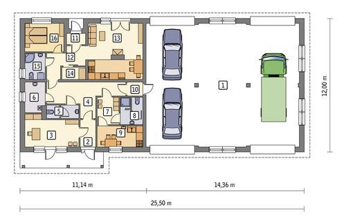 Rzut parteru POW. 255,6 m²
