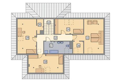 Rzut poddasza POW. 125,9 m²