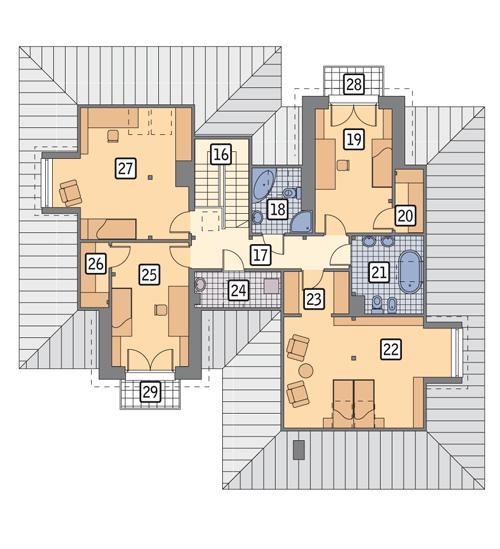 Rzut poddasza POW. 130,5 m²