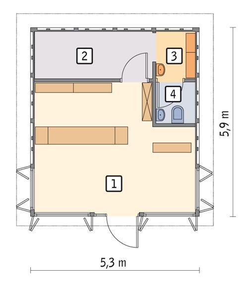 Rzut parteru POW. 27,8 m²
