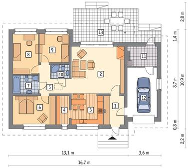 RZUT PARTERU POW. 104,9 m²