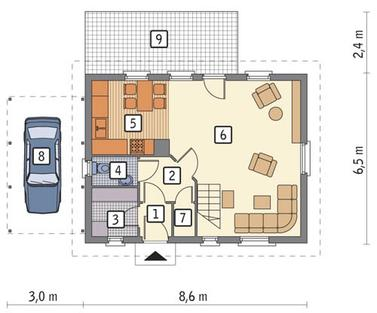 RZUT PARTERU POW. 43,2 m²