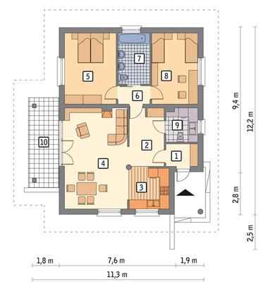 RZUT PARTERU POW. 87,2 m²