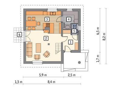RZUT PARTERU POW. 42,0 m²